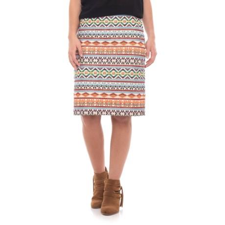 Stetson Schiffli Embroidery Canvas Straight Skirt (For Women) in Cream