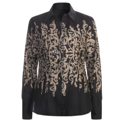 Stetson Scroll Print Shirt - Long Sleeve (For Women) in Black