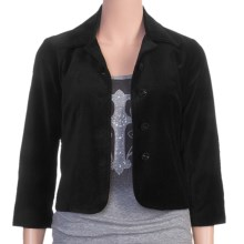 Stetson Short Velveteen Swing Jacket - 3/4 Sleeve (For Women) in Black - Closeouts