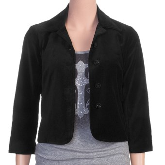 Stetson Short Velveteen Swing Jacket - 3/4 Sleeve (For Women)
