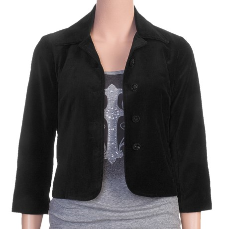 Stetson Short Velveteen Swing Jacket - 3/4 Sleeve (For Women) in Black