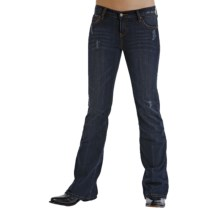 Stetson Slim Fit Destructed Ink Wash Denim Jeans - Low Rise, Bootcut (For Women) in Blue - Closeouts