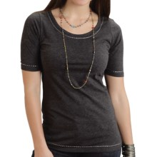 Stetson Stitched T-Shirt - Short Sleeve (For Women) in Grey - Closeouts