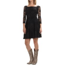 Stetson Stretch-Lace Dress - 3/4 Sleeve (For Women) in Black - Closeouts