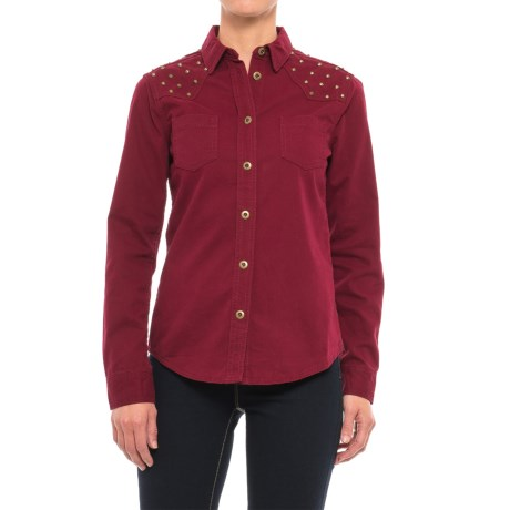 Stetson Studded Twill Shirt - Long Sleeve (For Women) in Red