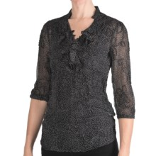 Stetson Textured Chiffon Shirt - 3/4 Sleeve (For Women) in Black - Closeouts