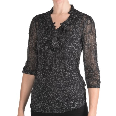 Stetson Textured Chiffon Shirt - 3/4 Sleeve (For Women) in Black