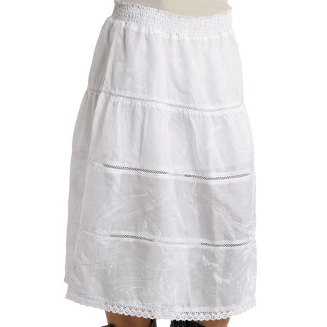 Stetson Tiered Skirt with Crochet Insets - Cotton-Silk (For Women) in White