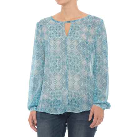 Stetson Vintage Quilt Print Peasant Top - Long Sleeve (For Women) in Blue - Closeouts