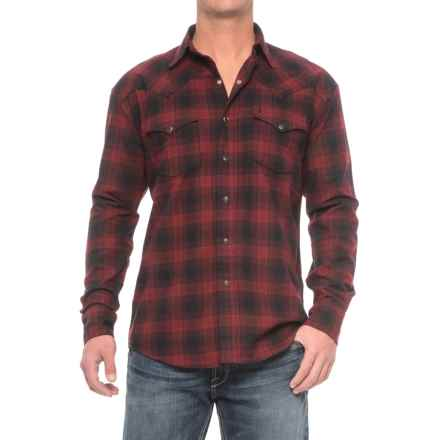 Stetson Western Flannel Shirt - Snap Front, Long Sleeve (For Men) in Check Mate - Closeouts
