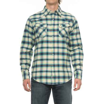 Stetson Western Flannel Shirt - Snap Front, Long Sleeve (For Men) in Rugged Twill Check - Closeouts