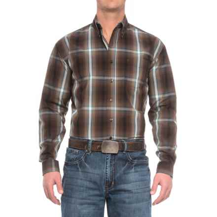 Stetson Western Plaid Shirt - Long Sleeve (For Men) in Mahogany Ombre - Closeouts