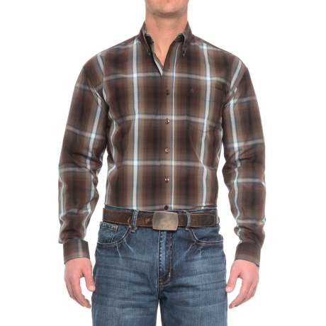 Stetson Western Plaid Shirt - Long Sleeve (For Men) in Mahogany Ombre