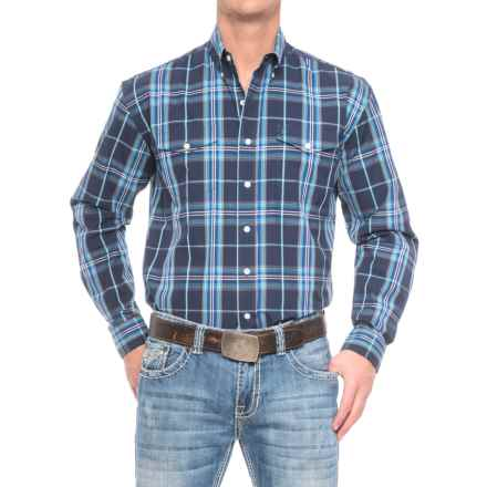 Stetson Western Plaid Shirt - Long Sleeve (For Men) in Midnight - Closeouts