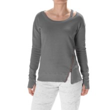 Steve Madden Asymmetrical Zip Sweatshirt - Crew Neck (For Women) in Black Tea - Closeouts