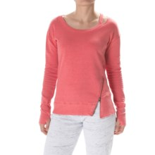 Steve Madden Asymmetrical Zip Sweatshirt - Crew Neck (For Women) in Fuji Coral - Closeouts