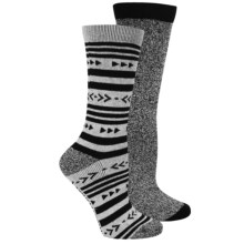 Steve Madden Aztec Stripe Boot Socks - 2-Pack, Crew (For Women) in Black/Heather Gray - Closeouts