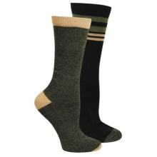 Steve Madden Boot Socks - 2-Pack, Crew (For Women) in Black/Olive - Closeouts