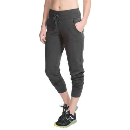 Steve Madden Joggers - Vegan Leather Pocket Trim (For Women) in Black Tea - Closeouts