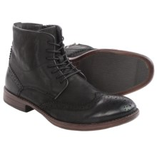 Steve Madden Lanter Boots - Leather, Wingtip (For Men) in Black - Closeouts