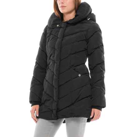 Steve Madden Long Hooded Bubble Coat - Insulated, Shawl Collar (For Women) in Black - Closeouts