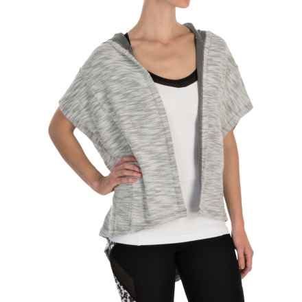 Steve Madden Oversized Hooded Wrap Top - Short Sleeve (For Women) in Jetty Grey - Closeouts