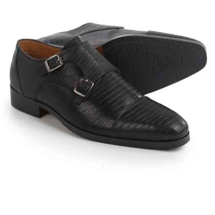 Steve Madden Rocodile Monk Strap Shoes (For Men) in Black - Closeouts