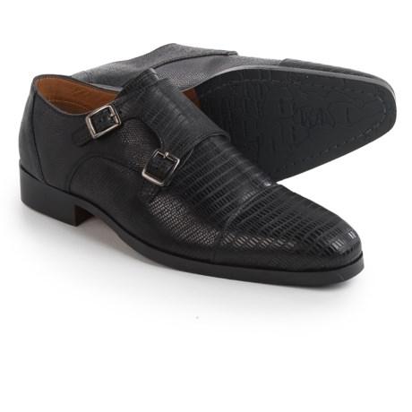 Steve Madden Rocodile Monk Strap Shoes (For Men) in Black
