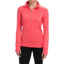 Steve Madden Space-Dyed Shirt - Zip Neck, Long Sleeve (For Women) in Fuji Coral - Closeouts
