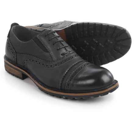 Steve Madden Spanner Brogue Oxford Shoes - Leather (For Men) in Black - Closeouts