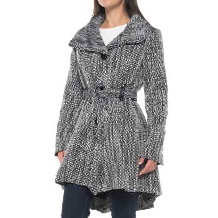 Steve Madden Sweater Wrap Coat (For Women) in Black/White - Closeouts