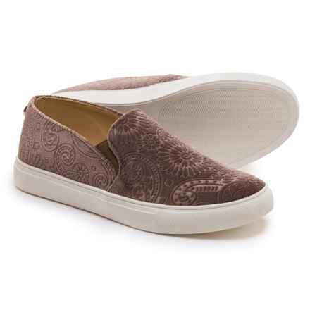 Steve Madden Zarayy-V Perforated Sneakers - Slip-Ons (For Women) in Taupe Velvet - Closeouts