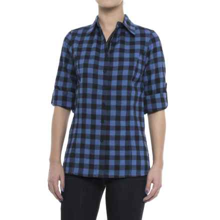 Stillwater Supply Co. Bold Stripe Flannel Shirt - Velvet Trim, Long Sleeve (For Women) in Royal - Closeouts
