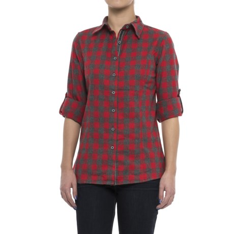Stillwater Supply Co. Bold Stripe Flannel Shirt - Velvet Trim, Long Sleeve (For Women) in Ruby