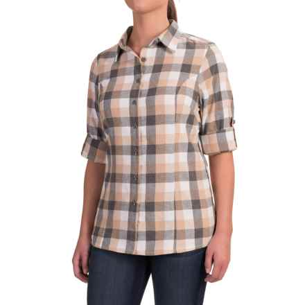 Stillwater Supply Co. Buffalo Plaid Flannel Shirt - Long Sleeve (For Women) in Tan/Grey - Closeouts