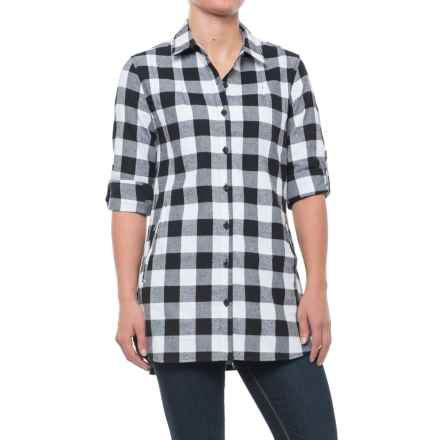Stillwater Supply Co. Buffalo Plaid Flannel Tunic Shirt - Long Sleeve (For Women) in Black/White - Closeouts