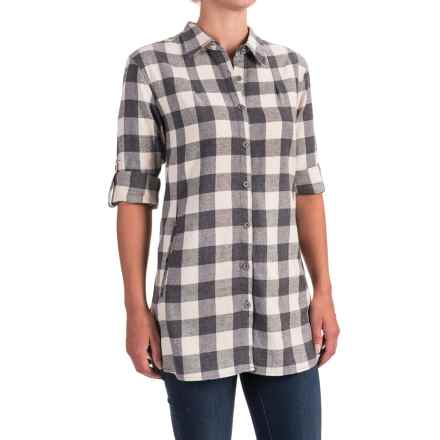 Stillwater Supply Co. Buffalo Plaid Flannel Tunic Shirt - Long Sleeve (For Women) in Gray - Closeouts