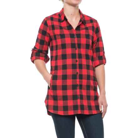 Stillwater Supply Co. Buffalo Plaid Flannel Tunic Shirt - Long Sleeve (For Women) in Red/Black - Closeouts