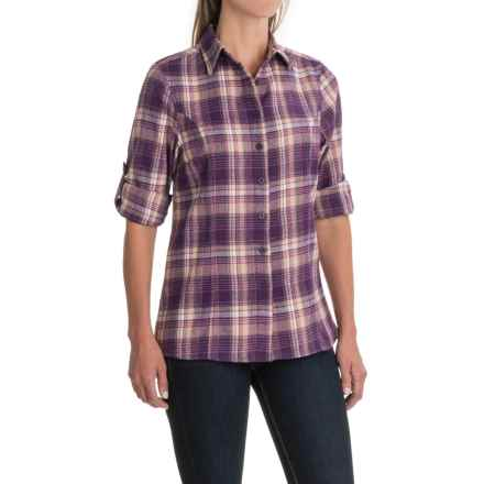 Stillwater Supply Co. Flannel Shirt with Velvet Trim - Long Sleeve (For Women) in Grape Plaid - Closeouts