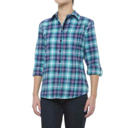 Stillwater Supply Co. Flannel Shirt with Velvet Trim - Long Sleeve (For Women) in Teal Plaid - Closeouts