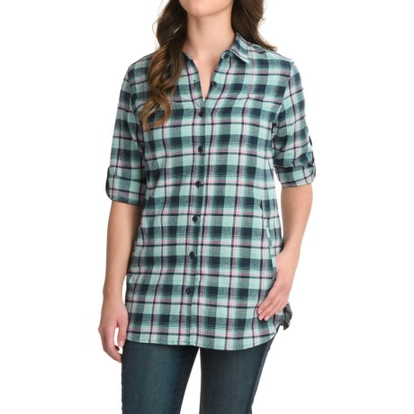 Stillwater Supply Co. Flannel Tunic Shirt - Long Sleeve (For Women) in Blue