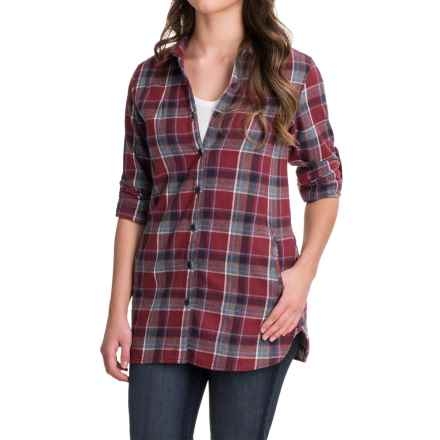 Stillwater Supply Co. Flannel Tunic Shirt - Long Sleeve (For Women) in Burgundy - Closeouts
