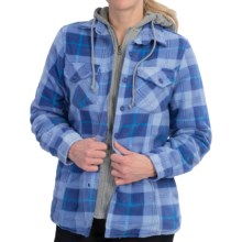 Stillwater Supply Co. Heavyweight Fleece Shirt Jacket - Sherpa Lining, Hooded (For Women) in Blue Plaid - Closeouts