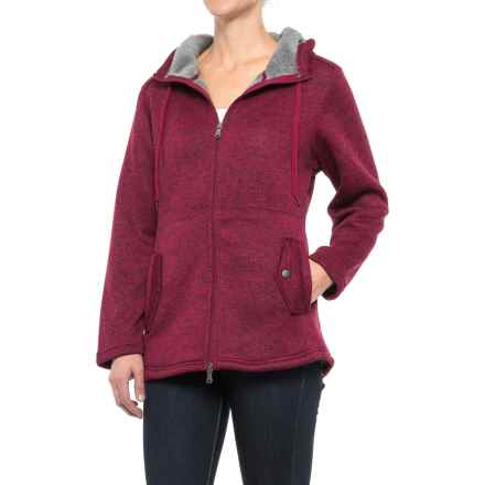 Stillwater Supply Co. Hooded Knit Fleece Sweater - Full Zip (For Women) in Sangria - Closeouts