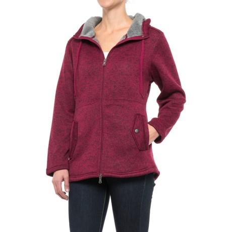 Stillwater Supply Co. Hooded Knit Fleece Sweater - Full Zip (For Women) in Sangria