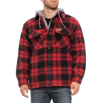 8b6185468 Stillwater Supply Co Lined Fleece Plaid Jacket with Hood (For Men) in Red -