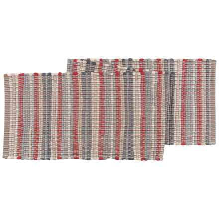"Stitch & Shuttle Chindi Stripe Table Runner - 13.5x70"" in Red/Olive/Beige - Closeouts"