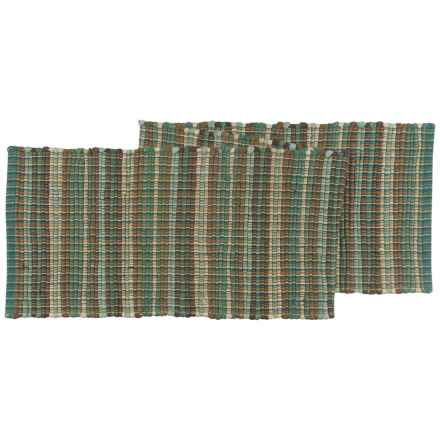"""Stitch & Shuttle Chindi Stripe Table Runner - 13.5x70"""" in Turq/Brown - Closeouts"""