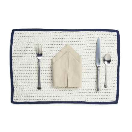"Stitch & Shuttle Kantha Placemat - 13x19"" in Dove - Closeouts"
