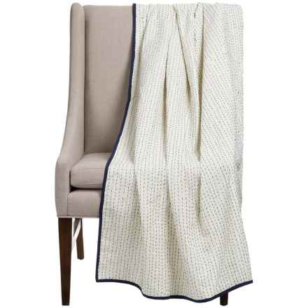 "Stitch & Shuttle Kantha Throw Blanket - 54x84"" in Dove - Closeouts"